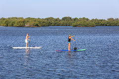Paddle boarding lesson royalty free stock images