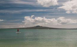 Paddle Boarding near Rangitoto Island.New Zealand Royalty Free Stock Image