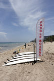 Paddle Boards and Banner Sign on the Beach Royalty Free Stock Photos