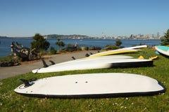 Paddle Boards, Elliott Bay, Seattle royalty free stock photo