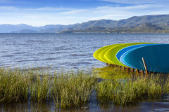 Paddle boards on shores of Lake Tahoe, California Stock Images