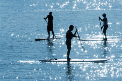 Paddle boards in the sun 2. Paddleboards with sun reflections in the water Royalty Free Stock Images