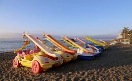 Paddle Boat on the beach. Costa del Sol, Malaga in Andalusia, Spain Royalty Free Stock Images