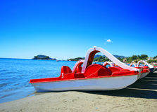 Paddle boat on the beach of Laganas Stock Photography