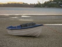 Paddle boat beached lake. A paddle boat beached on the sand in low light off the placid lake royalty free stock photos