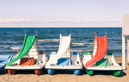 Paddle Boat at italian Beach Stock Photo