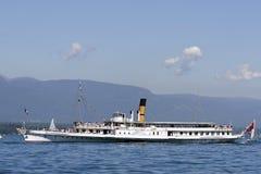 Paddle boat on Lake Geneva stock photo
