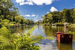 Free Paddle Boat On The Black Lake Of Gramado City, Rio Grande Do Sul - Brazil, On A Sunny Day With Sky With Clouds Royalty Free Stock Images - 111448369