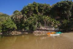Paddle Boats Lagoon Cliffs Stock Photos