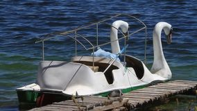 Paddle boats on lake titicaca bolivia stock video