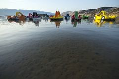 Paddle boats resting at morning Stock Photo