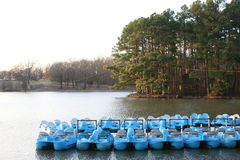 Paddle Boats on a River Royalty Free Stock Photography