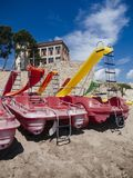 Paddle boats in the sand. Empuries beach,costa brava, spain Stock Photography