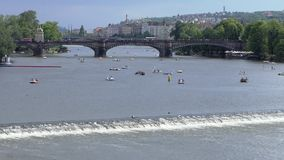 Paddle Boats on the Vltava River in Prague, Czech Republic stock video footage