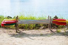 Paddle for canoe or kayak boats Royalty Free Stock Images