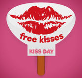 Paddle Fan with Commemorative Design for Kiss Day, Vector Illustration stock photography