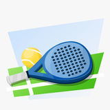 Paddle game. Paddle tennis racket and ball on green land and blue background Royalty Free Stock Image