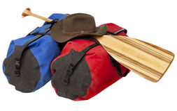 Paddle, hat and waterproof luggage Stock Images