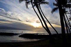 Paddle internu przy zmierzchem, Maui, Hawaje Zdjęcia Royalty Free