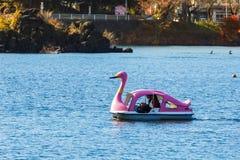 Paddle łodzie przy Jeziornym Kawaguchiko w jesieni Obrazy Royalty Free