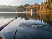 Paddle. Over the lake with house and forest in background Stock Photos