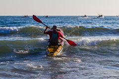Paddle-Ski Fisherman Sea Entry Stock Image