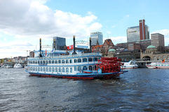 Paddle steam boat on the port Stock Photography