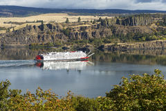 Paddle Steamer On Columbia River Gorge  Stock Image