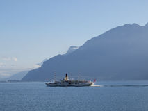 Steam boat on Lake Geneva going to Montreux Royalty Free Stock Image