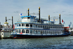 Paddle steamer Louisiana Star ferry docked in the port, Hamburg, Stock Image