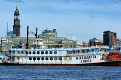 Paddle steamer Mississippi Queen ferry docked in the port, Hambu Stock Images