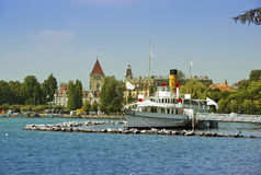 Paddle steamer Rhone on Lake Geneva Stock Photos