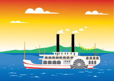 Paddle steamer on the river. Paddle steamer sailing on the river Stock Illustration