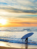 Paddle surfing at sunset, Portugal. Man carrying surfboard on the beach at sunset. Sagres, Algarve region, Portugal Royalty Free Stock Photography