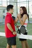 Paddle tennis couple fair play Royalty Free Stock Photos