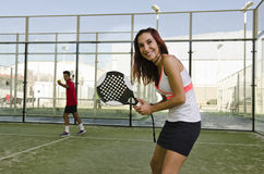 Paddle tennis couple Royalty Free Stock Photography