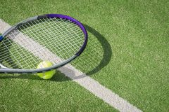 Paddle tennis court and ball. Green grass paddle tennis court and net with a yellow ball on the surface with a tennins racket royalty free stock photos