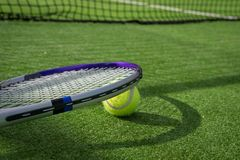 Paddle tennis court and ball. Green grass paddle tennis court and net with a yellow ball on the surface with a tennins racket royalty free stock photo