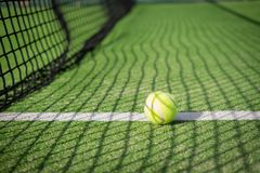 Paddle tennis court and net with a ball on the net shadow Stock Image