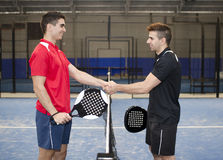 Paddle tennis hand shake Royalty Free Stock Images