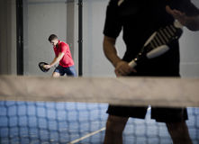 Paddle tennis player couple Stock Image