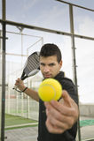 Paddle tEnnis player ready for serve Royalty Free Stock Photography