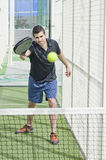 Paddle tEnnis player reAdy for SHOT Royalty Free Stock Photos