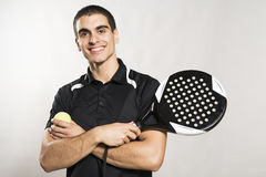 Paddle tennis player on white background Royalty Free Stock Image