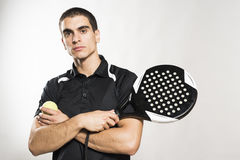 Paddle tennis player on white background Royalty Free Stock Images