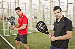 Paddle tennis players posing Royalty Free Stock Photography