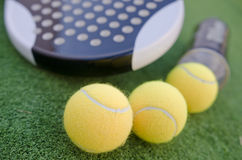 Paddle tennis racketand balls Royalty Free Stock Image