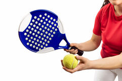Paddle tennis service Stock Images