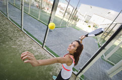 Paddle tennis shot: woman is ready Royalty Free Stock Images