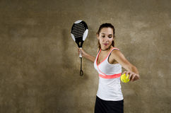 Paddle tennis woman player Royalty Free Stock Image